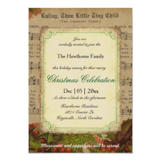 Vintage Winter Carol Music Sheet Christmas Party Card