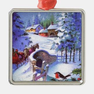 Vintage Winter Christmas Scene Metal Ornament