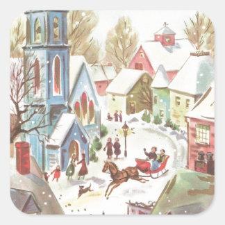 Vintage Winter Christmas Village Scene Square Sticker