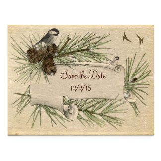 Vintage Winter Country Wedding Save the Date Postcard