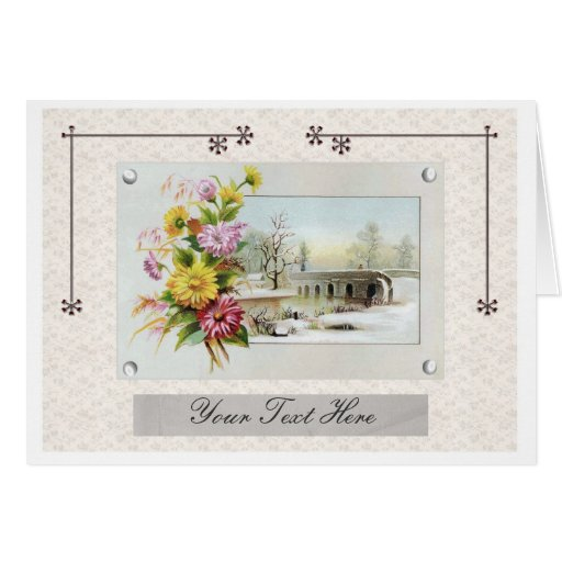 Vintage Winter Floral Greeting Cards