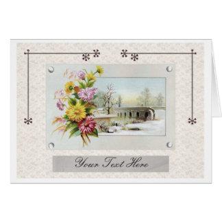 Vintage Winter Floral Greeting Card