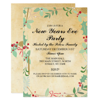 Vintage Winter Foliage New Years Day Eve Invite