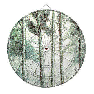 Vintage winter, frosted forest dartboard with darts