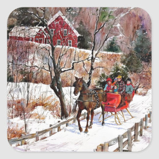 Vintage Winter Horse and Sleigh Square Sticker