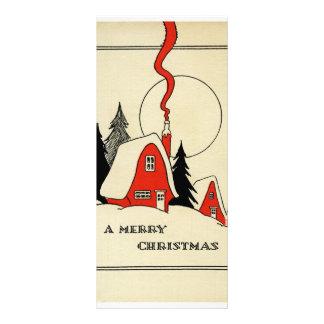 Vintage winter illustration rack card