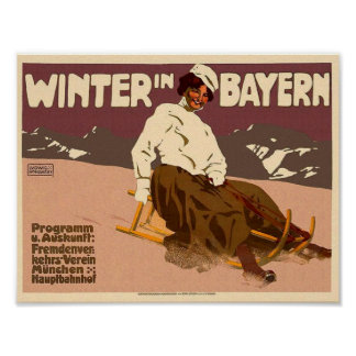 Vintage Winter in Bayern Travel Classic Poster