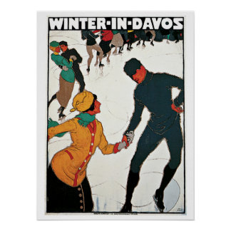Vintage Winter in Davos travel ad Poster