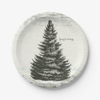 Vintage Winter Pine Tree Rustic Wood Elegant Party Paper Plate