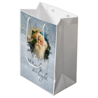 Vintage Winter Santa Personalized Medium Gift Bag