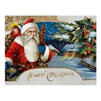 Vintage Winter Santa Postcard