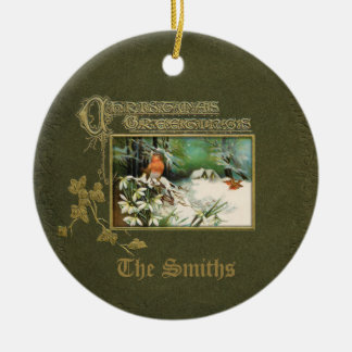 Vintage Winter Scene and Christmas Greeting Round Ceramic Decoration