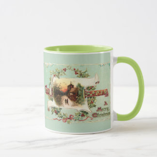 Vintage Winter Scene and Christmas Greeting Mug