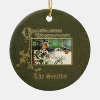 Vintage Winter Scene and Christmas Greeting Round Ceramic Decoration
