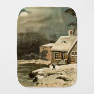 Vintage Winter Scene Burp Cloth
