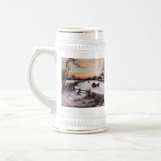 Vintage Winter Scene. Christmas Gift  Beer Mug