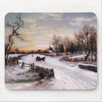 Vintage Winter Scene. Christmas Gift Mousepads