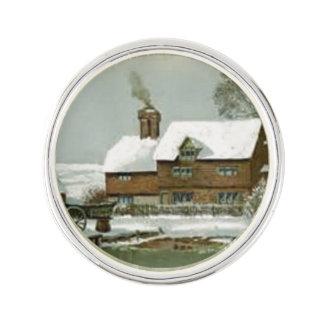 Vintage Winter Scene Lapel Pin