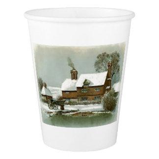 VIntage Winter Scene Paper Cup