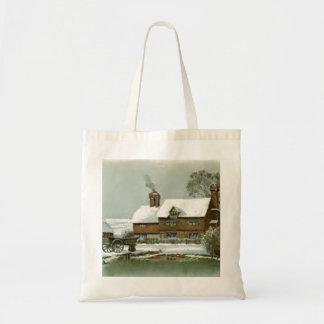 Vintage Winter Scene Tote Bag