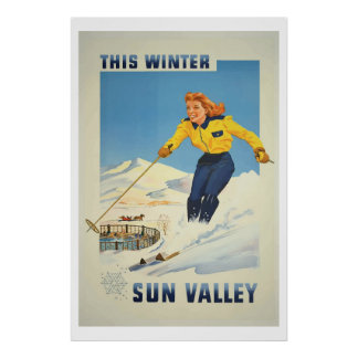 Vintage winter Ski sun valley idaho Travel Poster