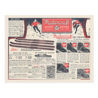 Vintage winter sports equipment advertising postcard