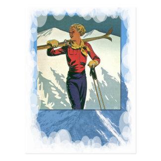 Vintage Winter Sports -Ready to ski Postcard