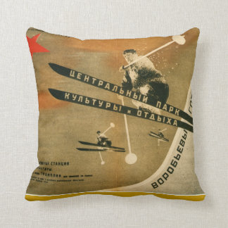 Vintage winter  sports, Russian ski poster Cushion