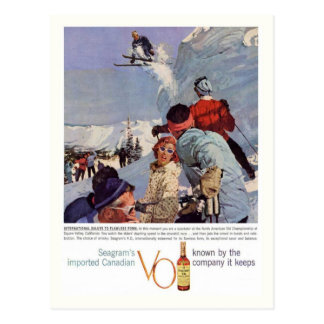 Vintage winter sports, Seagram's Advertisement Postcard