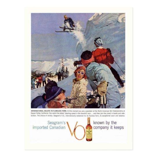 Vintage winter sports, Seagram's Advertisement Postcard