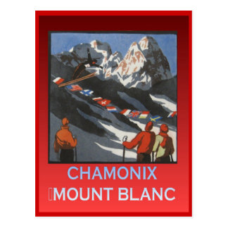 Vintage Winter sports, Ski Chamonix, Mount Blanc Postcard