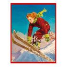 Vintage Winter sports, Ski downhill Postcard
