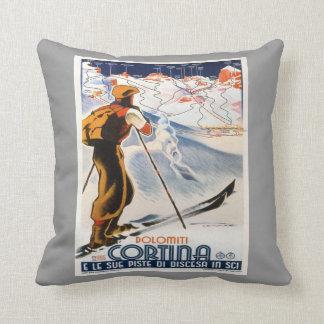 Vintage winter sports,Ski Italy, Cortina d'Ampezzo Cushion