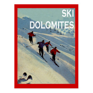 Vintage winter sports, Ski  Italy, Dolomites Postcard