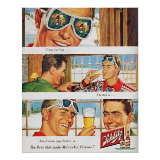 Vintage winter sports Ski Schlilz beer Poster
