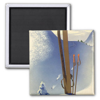 Vintage Winter Sports - Skis and slopes Magnet
