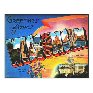 Vintage Wisconsin Travel Retro Vacation Greetings Postcard