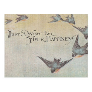 Vintage Wish For Happiness Birds Postcard