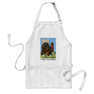 Vintage Wish I Could Fly Thanksgiving Turkey Apron Standard Apron