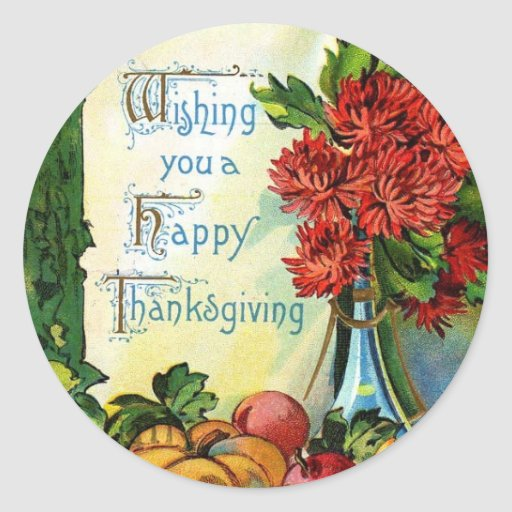 Vintage Wishing You a Happy Thanksgiving Stickers