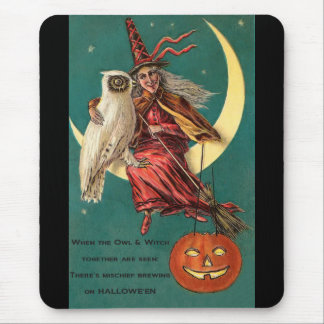 Vintage Witch and Owl Mousepad