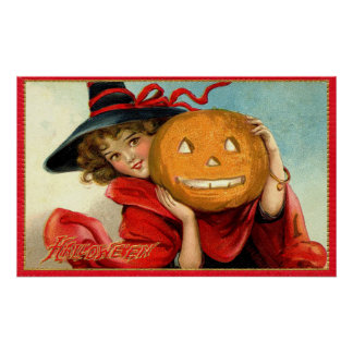 Vintage witch and pumpkin Halloween party poster