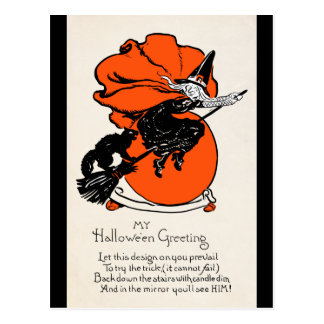 Vintage Witch Black Cat Greeting Postcards