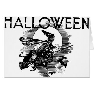 Vintage Witch Halloween Greeting Card