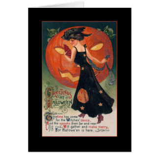Vintage Witch Halloween Greeting w/Bloody Text Card