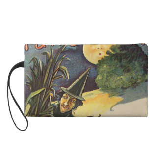 Vintage Witch In Moonlight Wristlet