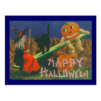 Vintage Witch & Jack o' Lanterns Play Time Postcard