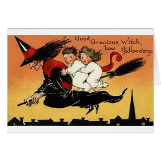 Vintage Witch On Broomstick Halloween Card