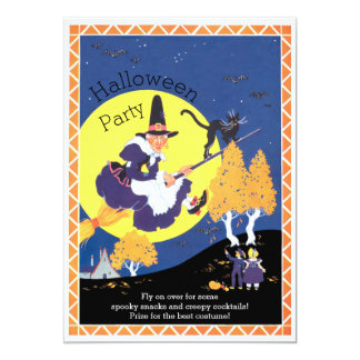 Vintage Witch on Broomstick Halloween Party 13 Cm X 18 Cm Invitation Card