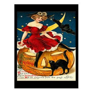Vintage Witch Pumpkin Halloween Greetings Postcard